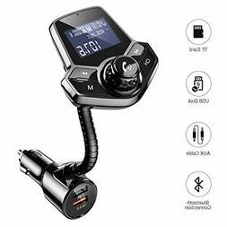 AINOPE  Bluetooth FM Transmitter for Car,[QC3.0+2.4A & Power