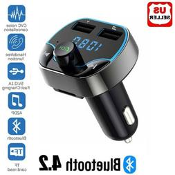 Bluetooth 4.2 FM Transmitter Wireless MP3 TF Radio Adapter U