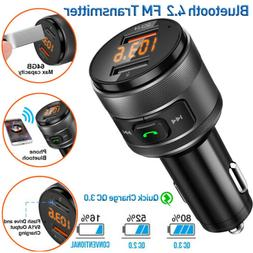 Bluetooth FM Transmitter For Car W/QC3.0 USB Quick Charger S