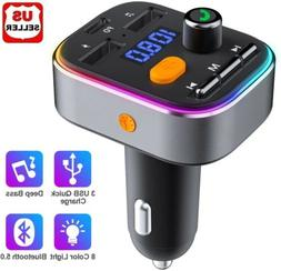 Wireless In-Car Bluetooth 5.0 FM Transmitter MP3 Radio Adapt