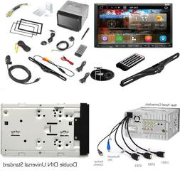Premium 7In Double-Din Android Car Stereo Receiver With Blue