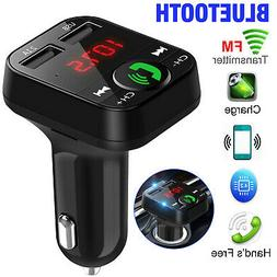 Wireless Car Bluetooth FM Transmitter Adapter with 2 USB Cha